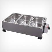 Capacidade: 3 cubas ? 3,3 kg cada Medidas (cm): 61 x 34 x 20 Consumo: 750W / 0,75kw/h Alimentação: 127V / 220
