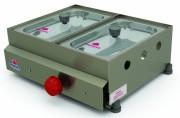 Estrutura em aço inox; Capacidade para 2 ou 3 cubas; Modelo a gás baixa pressão.